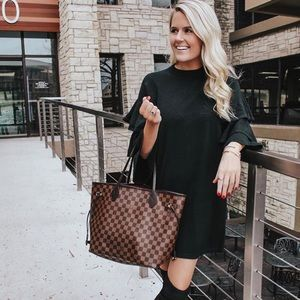 Black Sweater dress with ruffle sleeves